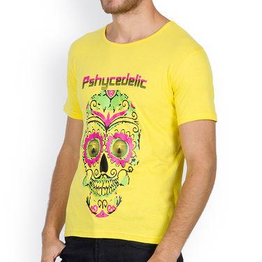 Incynk Half Sleeves Printed Cotton Tshirt For Men_Mht213yl - Yellow