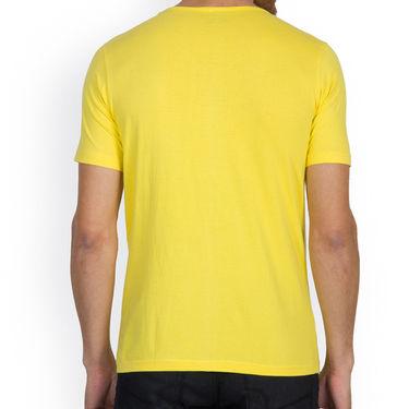 Incynk Half Sleeves Printed Cotton Tshirt For Men_Mht214yl - Yellow