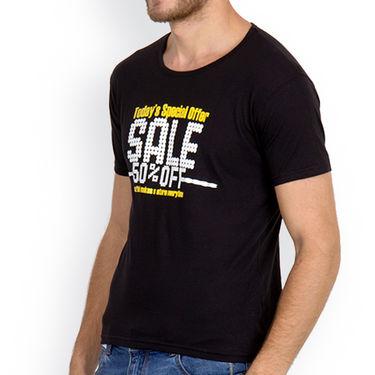 Incynk Half Sleeves Printed Cotton Tshirt For Men_Mht215blk - Black