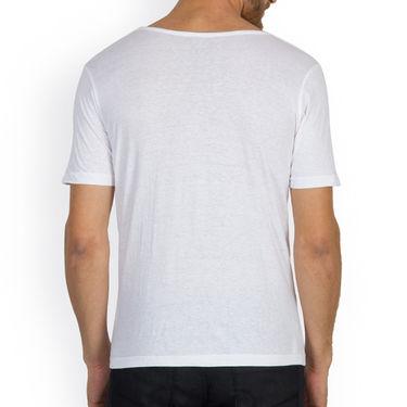 Incynk Half Sleeves Printed Cotton Tshirt For Men_Mht217wht - White