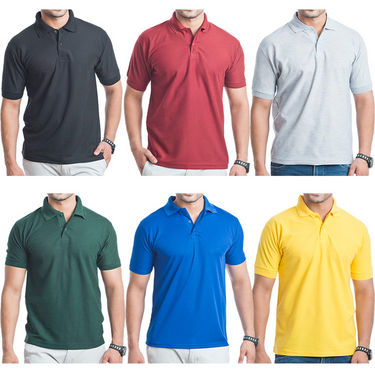 Ble Pack of 6 Slim Fit Blended Cotton Polo T shirts For Men_Blepolo6