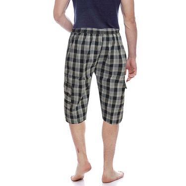 Delhi Seven Cotton Checks Capri For Men_D7Cg017 - Multicolor