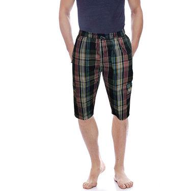 Delhi Seven Cotton Checks Capri For Men_D7Cg020 - Multicolor
