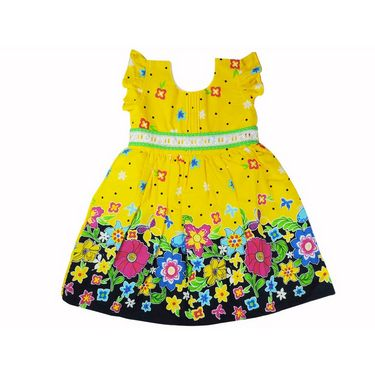 Ole Baby Cap Sleeves Frock Dot And Floral Print _OB-PFRC-419