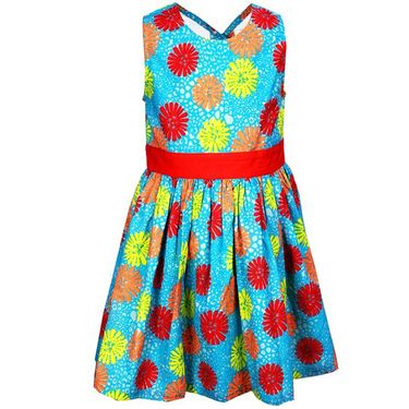 ShopperTree Blue and Red Cambric Print Dress
