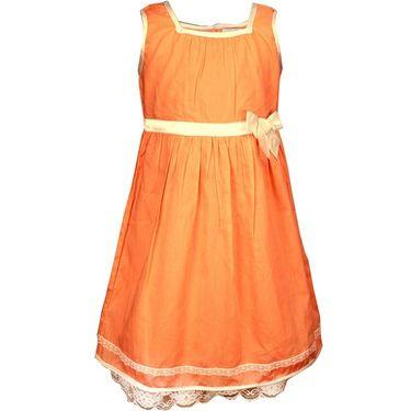 ShopperTree Sleeveless Orange Pleated Frock