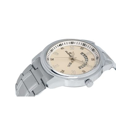 Dezine Round Dial Metal Wrist Watch For Men_1012whtch - White
