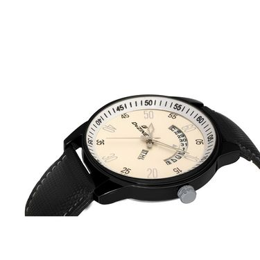 Dezine Round Dial Leather Wrist Watch For Men_1013whtblk - White