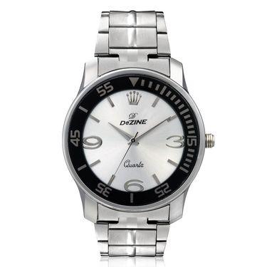 Dezine Round Dial Metal Wrist Watch For Men_056whtch - White