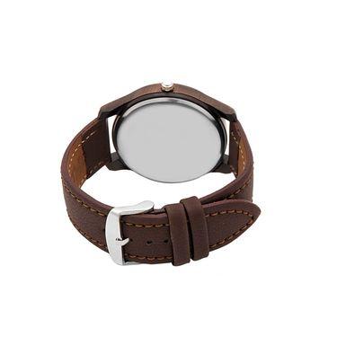 Dezine Round Dial Leather Wrist Watch For Men_0401whtbrw - White