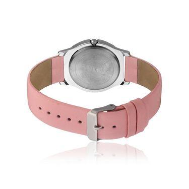 Dezine Round Dial Leather Wrist Watch For Women_2000pnkpnk - Pink