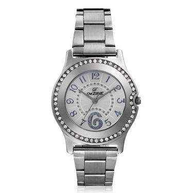 Dezine Round Dial Metal Wrist Watch For Women_2000whtch - Silver
