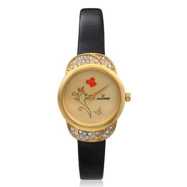 Dezine Round Dial Leather Wrist Watch For Women_907gldblk - Gold