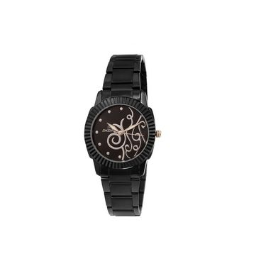 Dezine Round Dial Metal Wrist Watch For Women_0400blkbch - Black
