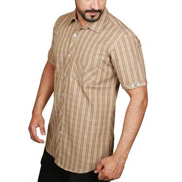 Sparrow Clothings Cotton Checks Shirt_wjc22 - Brown