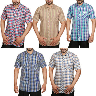 Pack of 5 Sparrow Clothings Cotton Checks Shirts_wjc503 - Multicolor