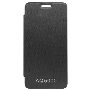 Flashmob Premium Satin Finish Flip Cover For Micromax AQ5000 - Black