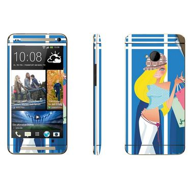 Snooky 39011 Digital Print Mobile Skin Sticker For HTC One M7 - Blue