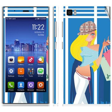 Snooky 39191 Digital Print Mobile Skin Sticker For Xiaomi Mi3 - Blue