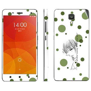 Snooky 39201 Digital Print Mobile Skin Sticker For Xiaomi Mi4 - White
