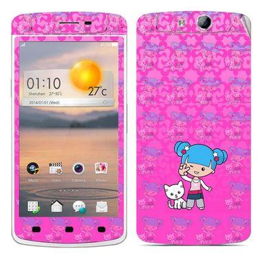 Snooky 39363 Digital Print Mobile Skin Sticker For OPPO N1 Mini - Pink
