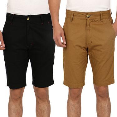 Pack of 2 Blimey Regular Fit Cotton Shorts_Bf54 - Brown & Black