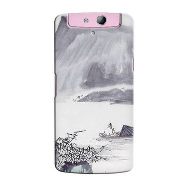 Snooky 36765 Digital Print Hard Back Case Cover For Oppo N1 Mini N5111 - Grey