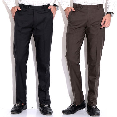 Pack of 2 Fizzaro Cotton Trouser_Ft103104 - Black & Brown