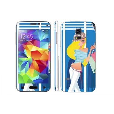 Snooky 39623 Digital Print Mobile Skin Sticker For Samsung Galaxy S5 - Blue