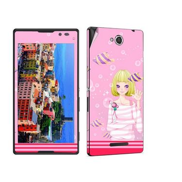 Snooky 39648 Digital Print Mobile Skin Sticker For Sony Xperia C / S39h - Pink
