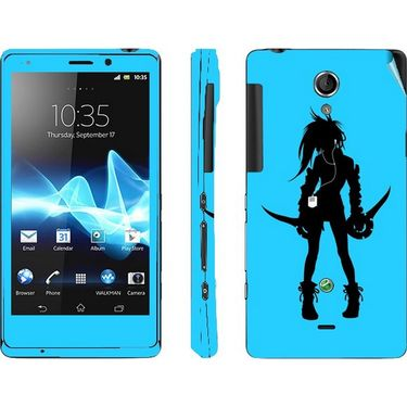 Snooky 39706 Digital Print Mobile Skin Sticker For Sony Xperia T Lt30p - Blue