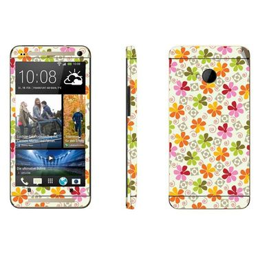 Snooky 41482 Digital Print Mobile Skin Sticker For HTC One M7 - White