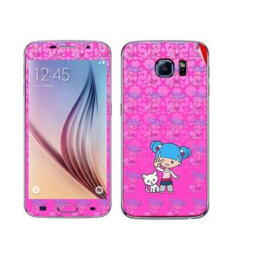 Snooky 41857 Digital Print Mobile Skin Sticker For Samsung Galaxy S6 - Pink