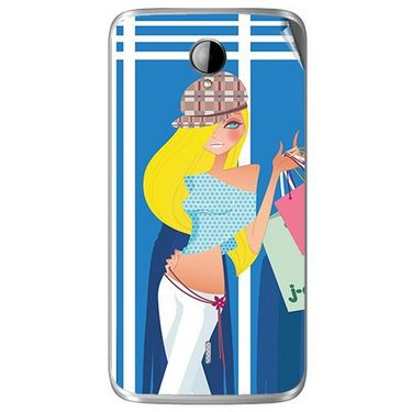Snooky 42014 Digital Print Mobile Skin Sticker For Intex Aqua i14 - Blue
