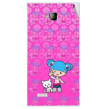 Snooky 42264 Digital Print Mobile Skin Sticker For Intex Aqua Y2 - Pink
