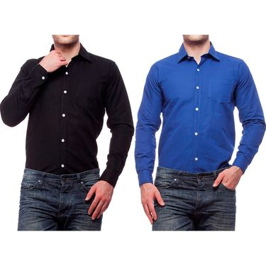 Pack of 2 Cotton Casual Shirts For Men_Fs956 - Black & Blue