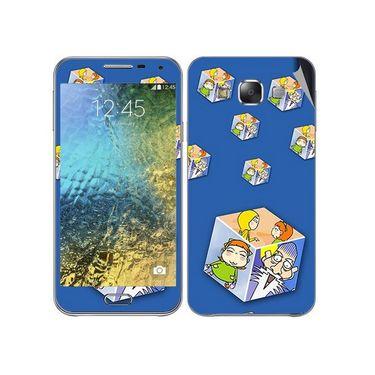Snooky 48302 Digital Print Mobile Skin Sticker For Samsung Galaxy E7 - Blue