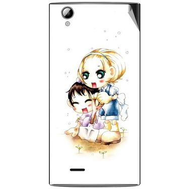 Snooky 42915 Digital Print Mobile Skin Sticker For XOLO A600 - White