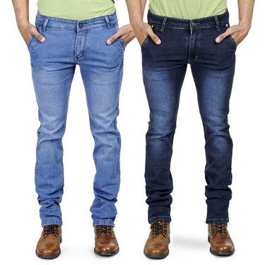 Pack of 2 Blended Cotton Slim Fit Jeans_101160 - Dark & Light Blue