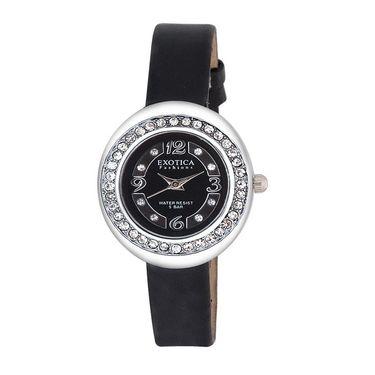 Exotica Fashions Analog Round Dial Watch For Women_Efl52w58 - Black & Silver