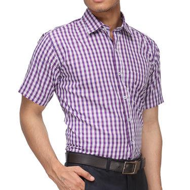 Rico Sordi Half Sleeves Checks Shirt_R012hs - Purple