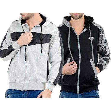 Pack of 2 Blended Cotton Full Sleeves Sweatshirts_Sd717 - Black & Grey