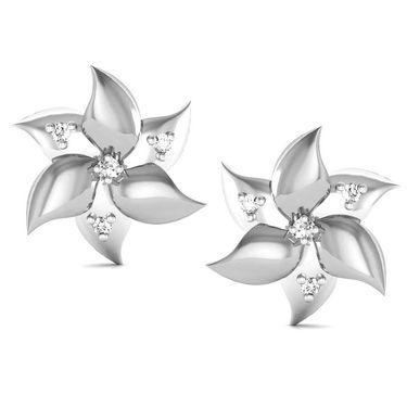 Avsar Real Gold and Swarovski Stone Karuna Earrings_Bge028wb