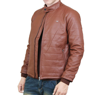 Branded Leather Jacket_Os08 - Brown