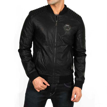 Branded Faux Leather Jacket_Os16 - Black