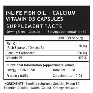 INLIFE Fish Oil Omega 3, Calcium, Vitamin D3, 60 Capsules For Prenatal Joint Care