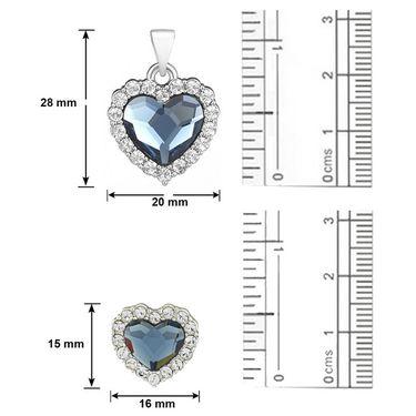 Mahi Rhodium Plated Swarovski Elements Pendant Set_Nl5104118rblucd
