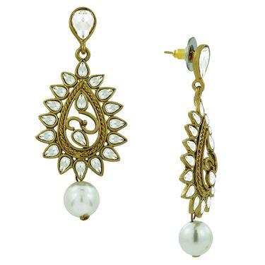 Spargz Dangling Pearl Kundan Earring_Aier098 - White
