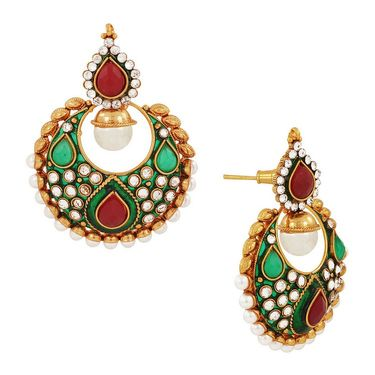 Spargz Earring with Created Stones & Pearls_Aier104 - Multicolor