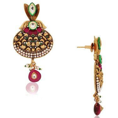 Spargz Antique Kundan Jhumki Earring_Aier157 - Multicolor